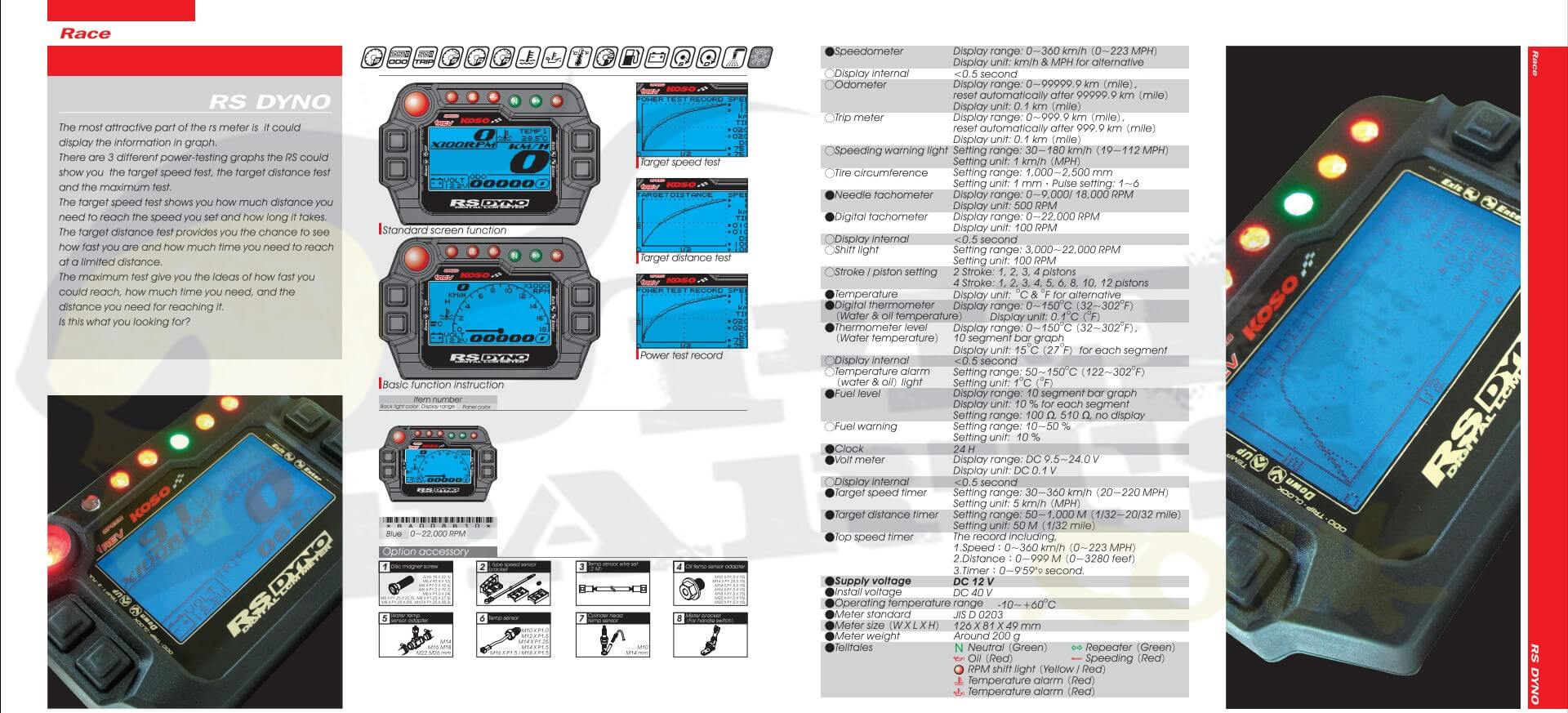 Koso RS Dyno Speedo Power Meter – Koso Wiring Diagram