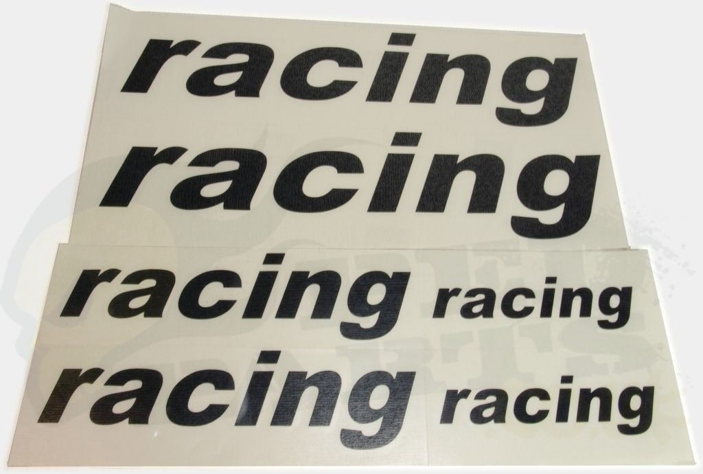 Racing Logo Stickers Set Black Or Orange Pedparts Uk