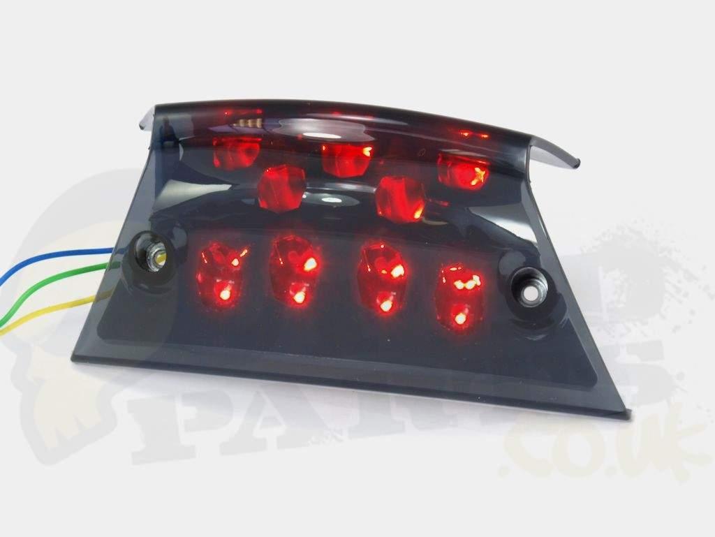 rear smoked led tail light - piaggio zip | pedparts uk