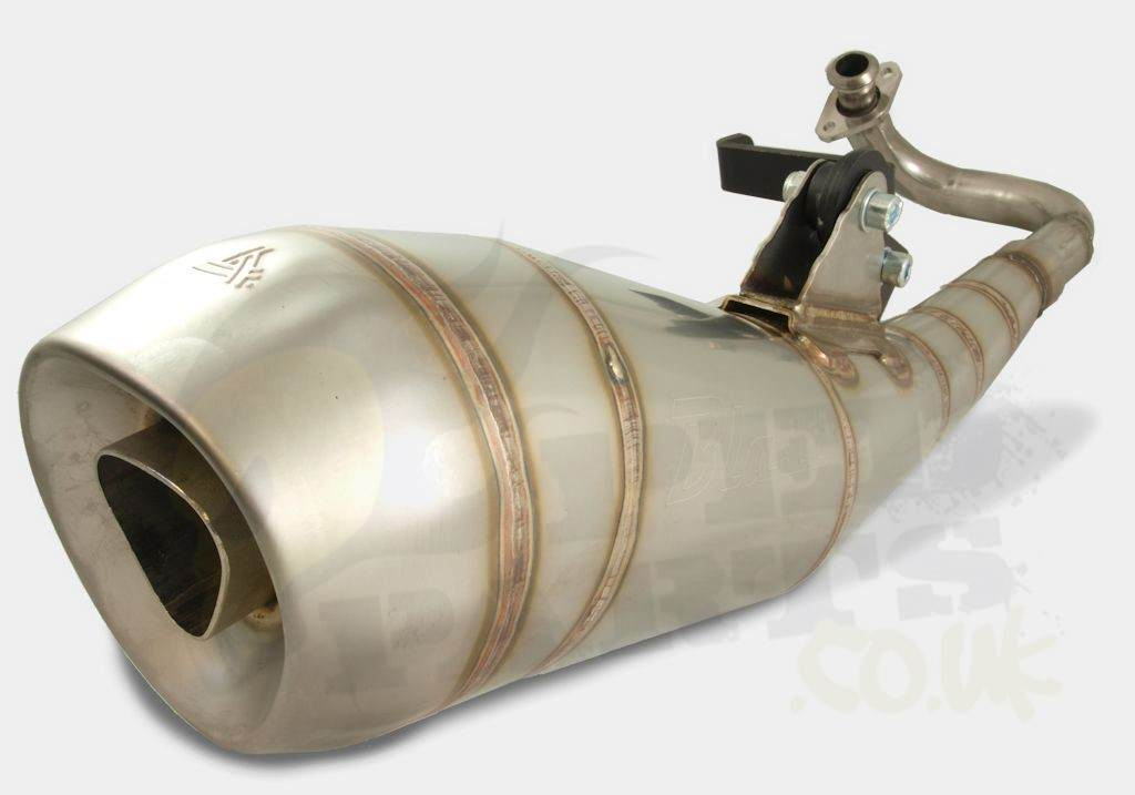 stainless steel exhaust - piaggio 50cc   pedparts uk
